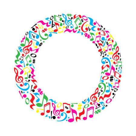 logo music: O letter made of colorful musical notes on white background. Alphabet for art school. Trendy font. Graphic decoration.