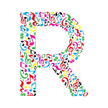 paper note: R letter made of colorful musical notes on white background. Alphabet for art school. Trendy font. Graphic decoration. Illustration