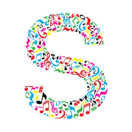 nota musical: S carta hecha de notas musicales coloridas sobre fondo blanco. Alfabeto para la escuela de arte. la fuente de moda. decoración gráfica. Vectores