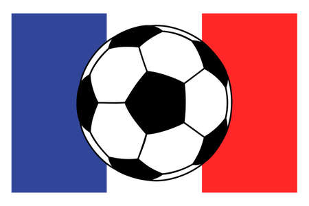 futbol: soccer football ball on French flag background. Vector illustration.