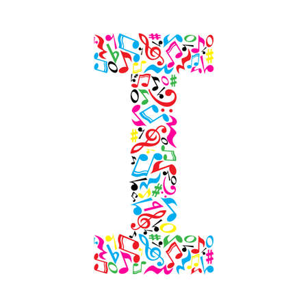 simbolos musicales: Me carta hecha de notas musicales coloridas sobre fondo blanco. Alfabeto para la escuela de arte. la fuente de moda. decoración gráfica. Vectores