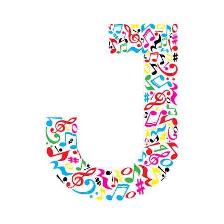 J Brief aus bunten Noten auf weißem Hintergrund. Alphabet für Kunstschule. Trendy Schriftart. Grafische Dekoration.