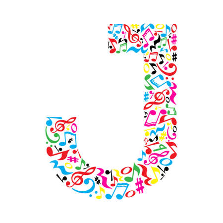 J letter made of colorful musical notes on white background. Alphabet for art school. Trendy font. Graphic decoration.