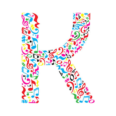 K letter made of colorful musical notes on white background. Alphabet for art school. Trendy font. Graphic decoration. Illustration