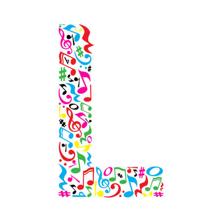 L letter made of colorful musical notes on white background. Alphabet for art school. Trendy font. Graphic decoration.