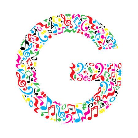 G Brief aus bunten Noten auf weißem Hintergrund. Alphabet für Kunstschule. Trendy Schriftart. Grafische Dekoration. Standard-Bild - 57949678