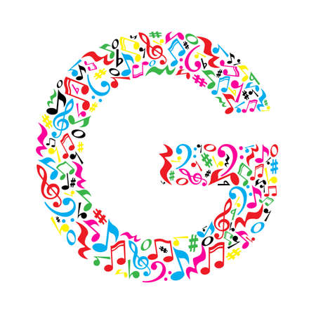 paper note: G letter made of colorful musical notes on white background. Alphabet for art school. Trendy font. Graphic decoration. Illustration