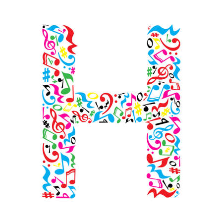 paper note: H letter made of colorful musical notes on white background. Alphabet for art school. Trendy font. Graphic decoration. Illustration