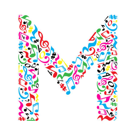 M letter made of colorful musical notes on white background. Alphabet for art school. Trendy font. Graphic decoration.