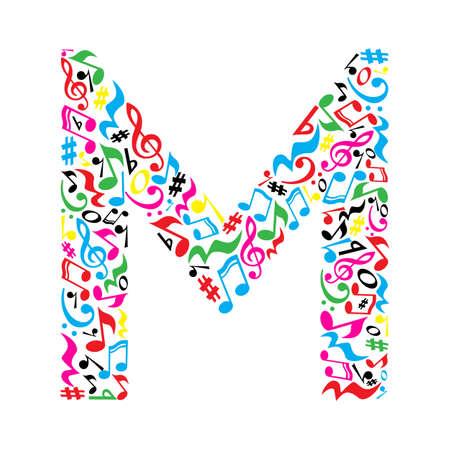 M brief gemaakt van kleurrijke muzikale noten op een witte achtergrond. Alfabet voor de kunstacademie. Trendy lettertype. Grafische decoratie. Vector Illustratie