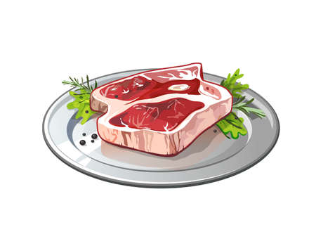 raw beef: Meat on metallic plate. Isolated food on white background. Pork or beef raw meat. Restaurant meal. Illustration