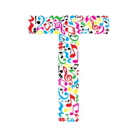 T letter made of colorful musical notes on white background. Alphabet for art school. Trendy font. Graphic decoration.