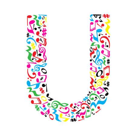 lettre U faite de notes musicales colorées sur fond blanc. Alphabet pour l'école d'art. Trendy police. décoration graphique.