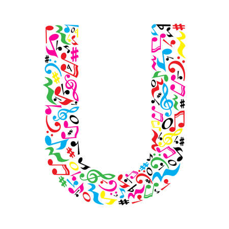 paper note: U letter made of colorful musical notes on white background. Alphabet for art school. Trendy font. Graphic decoration. Illustration