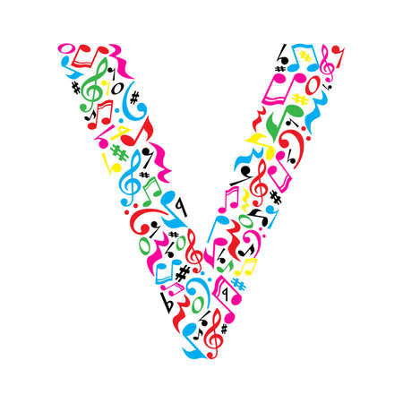 V letter made of colorful musical notes on white background. Alphabet for art school. Trendy font. Graphic decoration.