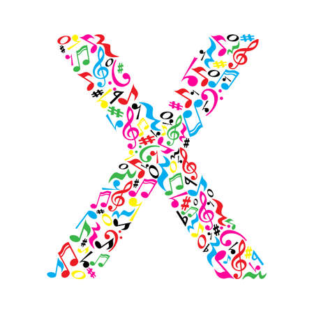 X letter made of colorful musical notes on white background. Alphabet for art school. Trendy font. Graphic decoration.