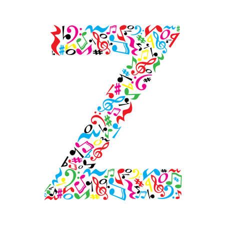 Letra Z hecha de notas musicales coloridas sobre fondo blanco. Alfabeto para la escuela de arte. la fuente de moda. decoración gráfica. Ilustración de vector