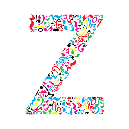 Z letter made of colorful musical notes on white background. Alphabet for art school. Trendy font. Graphic decoration.