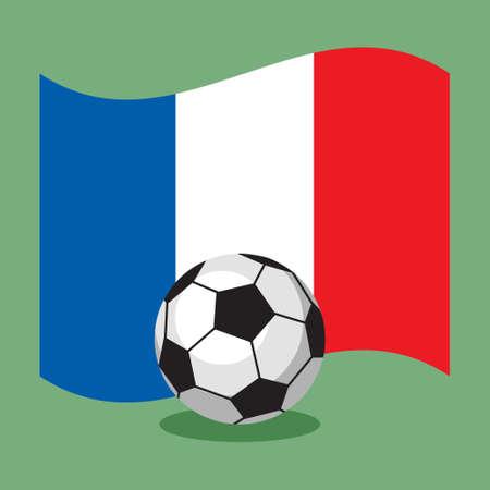 futbol soccer: soccer football ball on French flag background. Vector illustration.