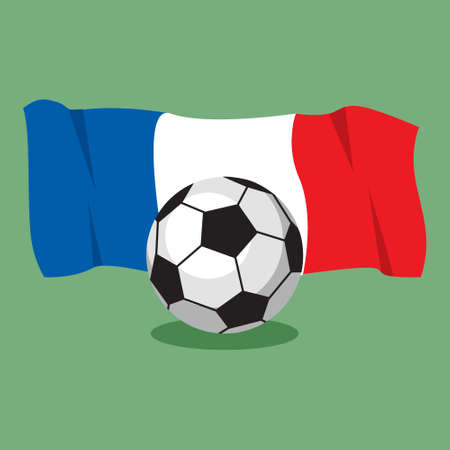 qualify: soccer football ball on French flag background. Vector illustration.
