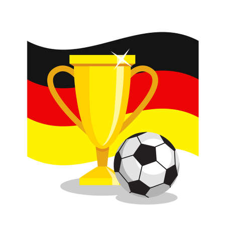 championship: Football or soccer ball with cup and german flag on white background. Concept of championship, league, team sport. Concept of prize, leadership, winning and success. Winner award. Illustration