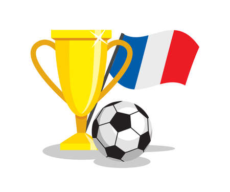 winning team: Football or soccer ball with cup and french flag on white background. Concept of championship, league, team sport. Concept of prize, leadership, winning and success. Winner award.