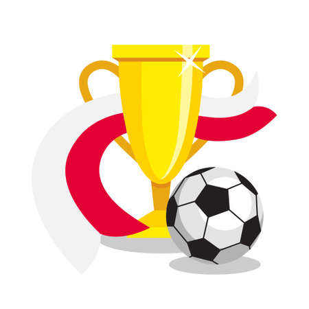 polish flag: Football or soccer ball with cup and polish flag on white background. Concept of championship, league, team sport. Concept of prize, leadership, winning and success. Winner award.