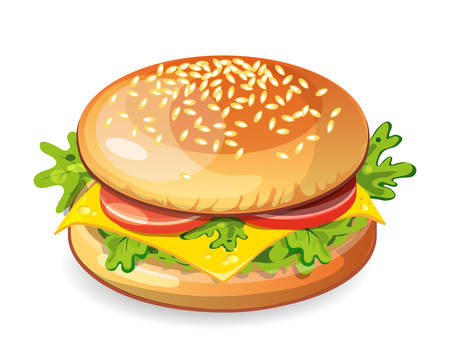 vegetarian hamburger: Isolated vegetarian hamburger on white background. Fresh sandwich with beef, lettuce, tomato, bun and cheese. American fast food. Illustration