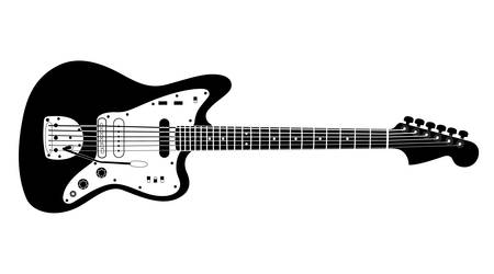 noir: Black and white electric guitar on white background. Isolated stylish art. Modern grunge and rock style. Noir style.