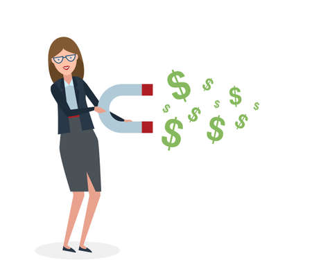 magnetize: Businesswoman with magnet on white background. Businesswoman holding magnet. Magnetize money, wealth, finance. Earn money. Illustration
