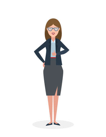 Businesswoman with thump up on white background. White-collar gesturing thumb up. Successful and positive consultant. Greeting or agreement.