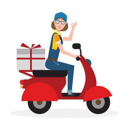 courier: Delivery woman on scooter. Fast transportation. Isolated cartoon character on white background. Postwoman, courier with parcel on motorbike.
