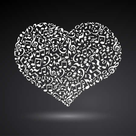 valentine musical note: Isolated heart made of musicalnotes on white background. Heart shaped pattern. Musical art. White musical notes.
