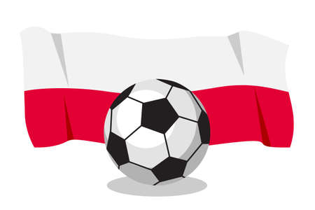 polish flag: Football or soccer ball with polish flag on white background.  Cartoon ball. Concept of championship, league, team sport. Game for kids and adults. Cheering and sport fans concept. Illustration