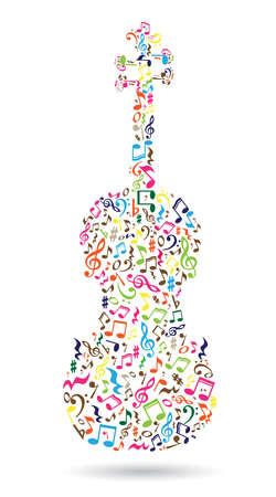 Geïsoleerde viool gemaakt van muzieknoten op een witte achtergrond. Kleurrijke notities patroon. Opmerking vorm. Poster en decoratie idee. Stock Illustratie