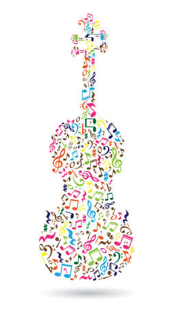 Isolated violin made of musical notes on white background. Colorful notes pattern. Note shape. Poster and decoration idea. Фото со стока - 58183031