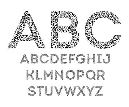 Alphabet from musical notes on white background. Font for music school. Isolated set of letters. Black and white design. Vettoriali