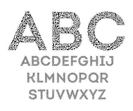 Alphabet von Noten auf weißem Hintergrund. Schriftart für Musikschule. Isolierte Reihe von Buchstaben. Schwarz-Weiß-Design.