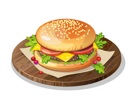 food plate: Isolated classic hamburger on wooden plate on white background. Fresh sandwich with beef, lettuce, tomato, bun and cheese. American fast food.