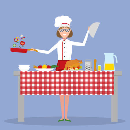 preparing food: Female chef cooking on blue background. Restaurant worker preparing food. Chef uniform and hat. Table and cafe equipment. Home cooking.