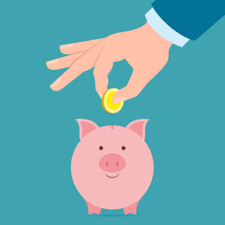 collect: Hand with coin and piggy bank. Hand holding coin. Concept of savings, earnings. Collect to pig bank. Saving coins to piggy bank. Illustration
