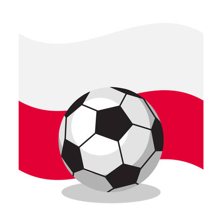 polish flag: Football or soccer ball with polish flag on white background. World cup. Cartoon ball. Concept of championship, league, team sport. Game for kids and adults. Cheering and sport fans concept.
