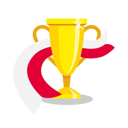 polish flag: Golden cup with polish flag on white background. Concept of championship, league, team sport. Concept of prize, leadership, winning and success. Winner award.