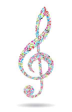 clave de sol hecha de notas musicales sobre fondo blanco. patrón de notas de colores. G forma clave. Cartel y decoración idea.