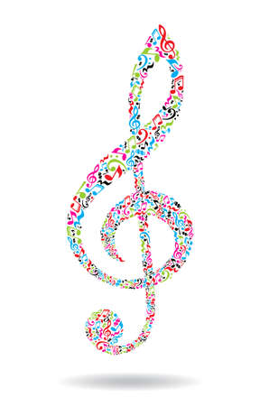 Treble clef made of musical notes on white background. Colorful notes pattern. G clef shape. Poster and decoration idea.