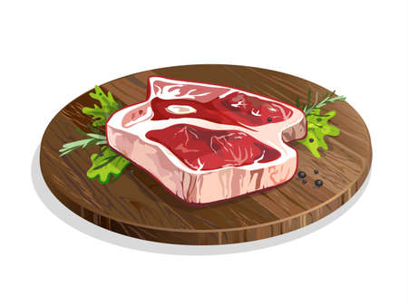raw beef: Meat on wooden plate. Isolated food on white background. Pork or beef raw meat. Restaurant meal. Menu.