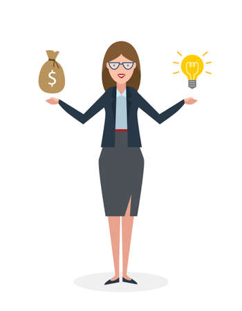 investor: Businesswoman with idea bulb and money bag on white background. Isolated cartoon chararter.Businesswoman investor. Innovation.