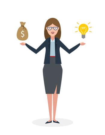 Geschäftsfrau mit Idee Birne und Geld Tasche auf weißem Hintergrund. Isolierte Karikatur chararter.Businesswoman Investor. Innovation.