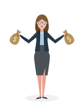 rich girl: Businesswoman with money bags. Isolated character. Businesswoman holding bags of money. Wealth and investment.
