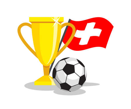 swiss flag: Football or soccer ball with cup and swiss flag on white background. Concept of championship, league, team sport. Concept of prize, leadership, winning and success. Winner award.